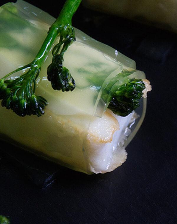 Canelón de Bimi® brócoli con bacalao