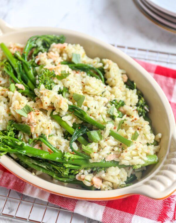 Ovenrisotto met Bimi® broccoli, Parmezaan en gerookte zalm