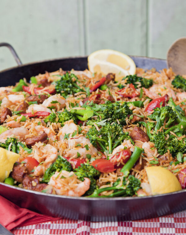 Paella mit Meeresfrüchten und Bimi® Brokkoli