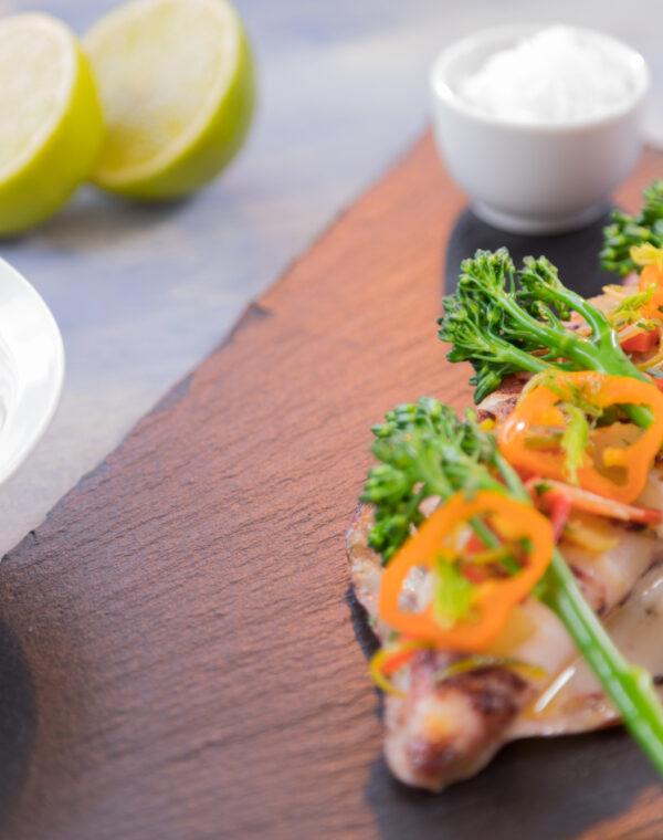 Calamar con Bimi® brócoli y jengibre