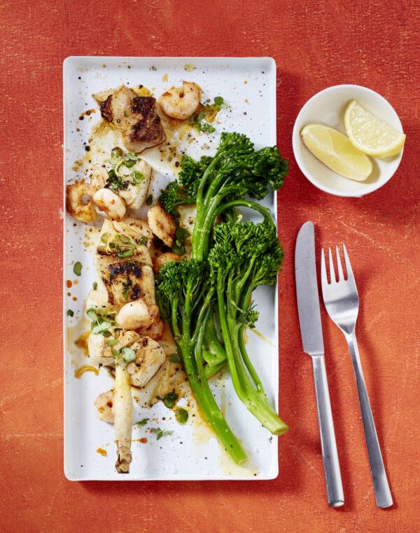 Meeresfrüchte-Spieße mit Zitronen-Bimi® Brokkoli