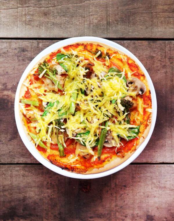 Pizza Vegetariana com Bimi