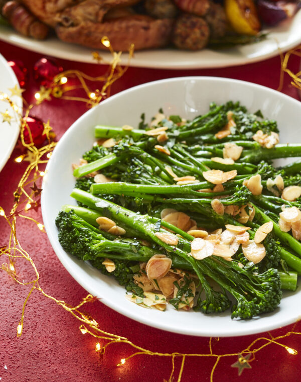 Bimi® broccoli with flaked almonds, parsley and lemon butter sauce