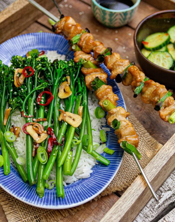 Yakitori Hähnchenspieße mit gegrilltem Bimi® Brokkoli