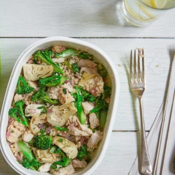 Bulgurotto med Bimi® brokkoli, kylling og artisjokk