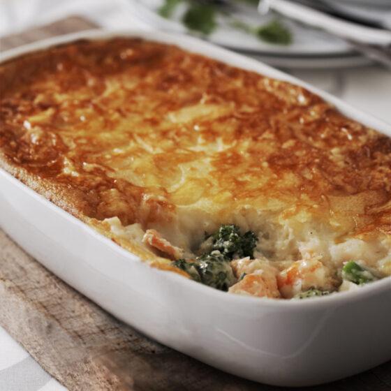 Zeevruchtentaart met Bimi® broccoli en romige, zachte aardappelen