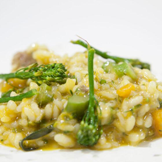Arroz caldoso con Bimi® brócoli e ibérico