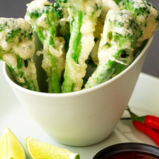 Bimi® brócolos em Tempura