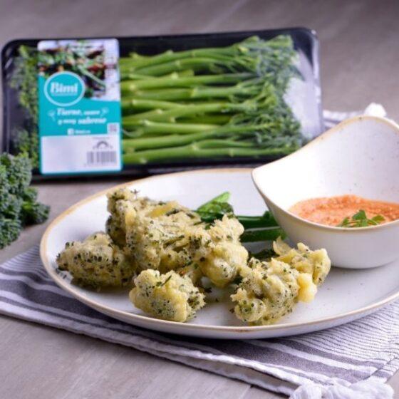 Bimi® brócoli en tempura con romescu