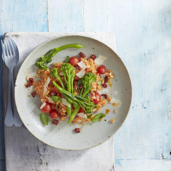 Tomato & Chorizo Risotto with Garlic Bimi® Broccoli