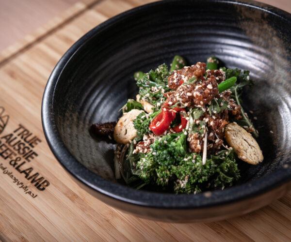 Australian grain-fed Crispy Beef salad with Tenderstem® broccoli by Chef Tarek CMC