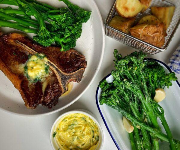 T-Bone Steak with Garlic Butter Tenderstem® broccoli