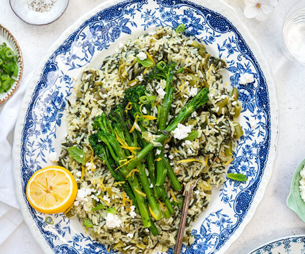 Greek-style risotto with spinach and Tenderstem® broccoli
