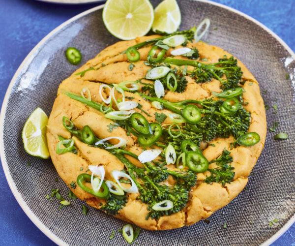 Tenderstem® broccoli and lime pickle pancake