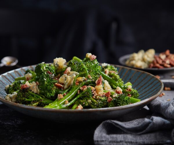 Christmas Griddled Tenderstem® broccoli with Blue Cheese, Pecans & Maple Syrup