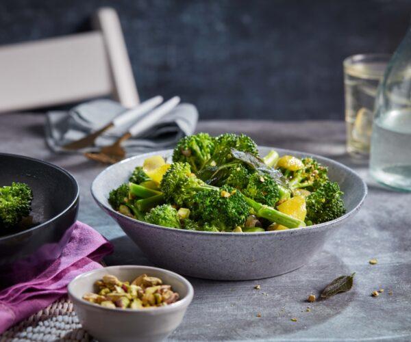 Lemon and crispy sage Tenderstem® broccoli with salted pistachios