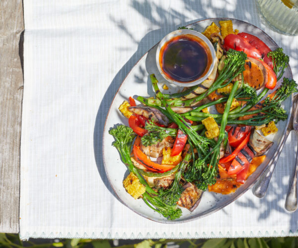 Smoky BBQ veggies with plum and soy BBQ dressing