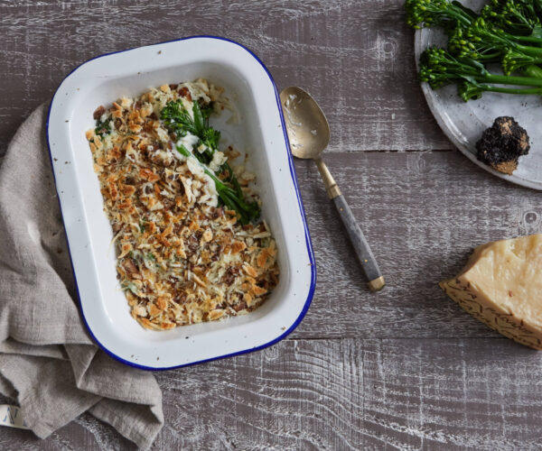 Tenderstem® broccoli, Chestnut & Truffle Gratin