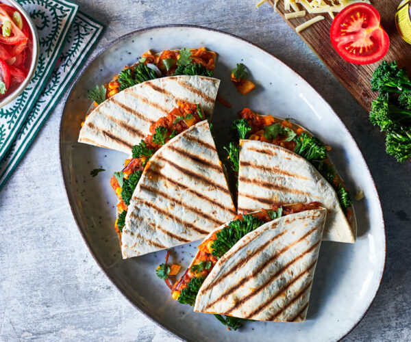Toasted quesadilla with chipotle, sweet potato, corn and Tenderstem® broccoli