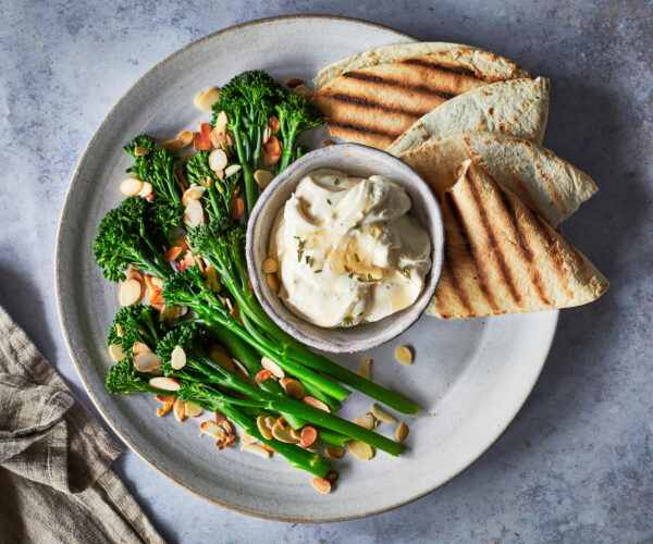 Whipped feta thyme and honey dip with griddled Tenderstem® broccoli