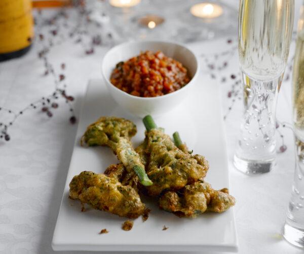 Antipasti of Battered Tenderstem® broccoli with Salsa Rossa