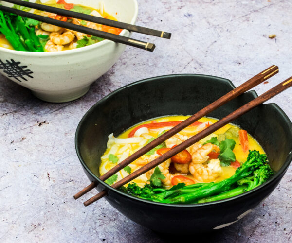Spicy Malaysian Laksa Soup with Grilled Prawns & Tenderstem® Broccoli