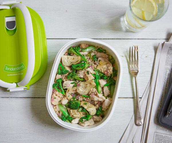 Tenderstem® broccoli, Bulgur Wheat, Chicken & Artichoke Salad