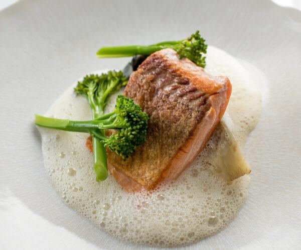 Sea Trout with Scallop Tortellini, Tenderstem® Broccoli & Scallop Velouté