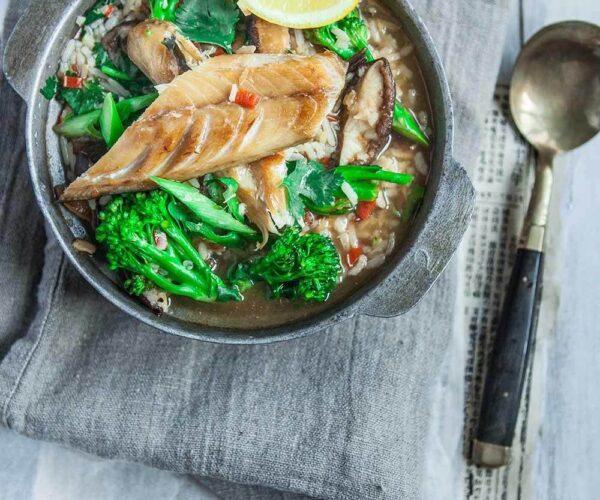 Nourishing Teriyaki Tenderstem® broccoli & Shiitake Mushroom, Smoked Mackerel, Red Rice Congee