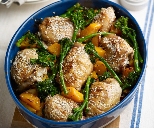 One-pan Roast Lunch with Sesame-Lemon Chicken, Tenderstem® broccoli & Butternut Squash, Served with Steamed Rice