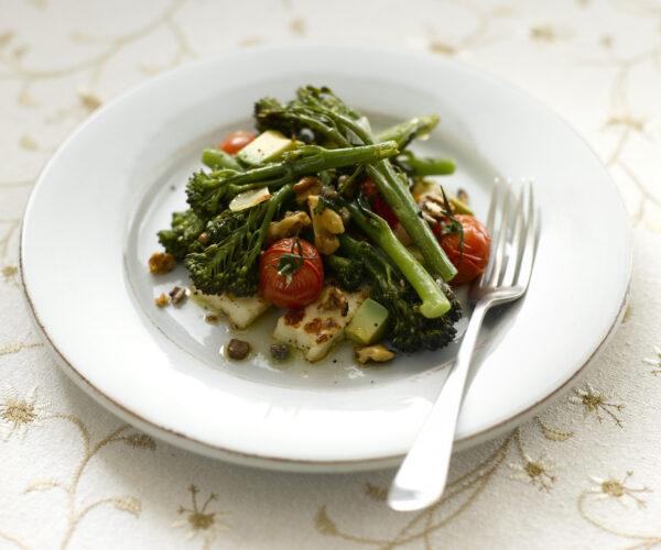 Roasted Tenderstem® broccoli, Grilled Halloumi & Cherry Tomato Salad