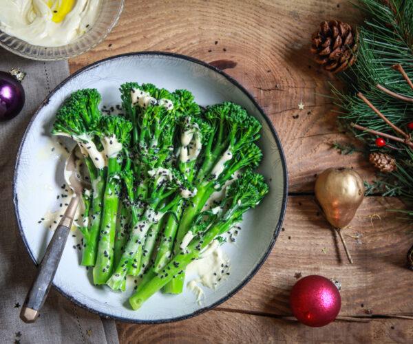 Tenderstem® broccoli with Christmas Tahini, Truffle & Black Sesame Dressing