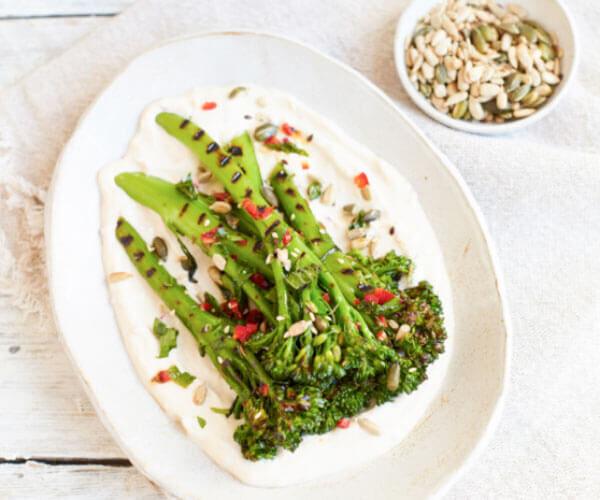 Charred Tenderstem® broccoli with Chilli Vinaigrette & Tahini Yogurt