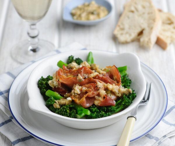 Tenderstem® broccoli & Crispy Prosciutto with a Creamy Shallot & Caper Dressing