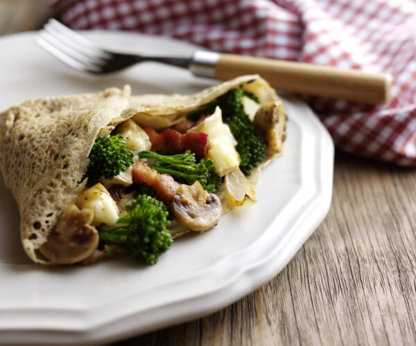 Tenderstem® broccoli Galette with Lardons, Mushrooms & Brie