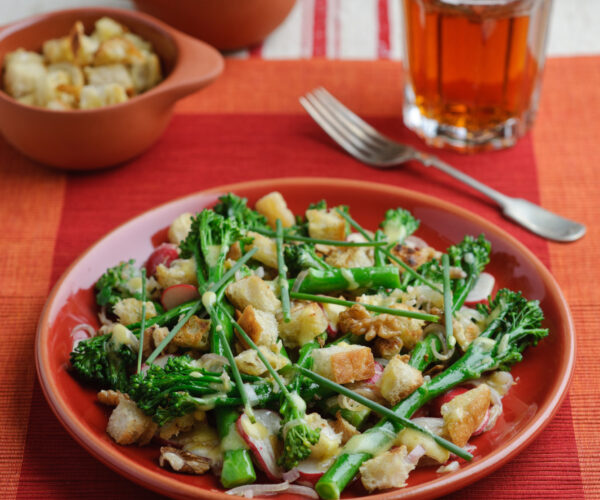 Warm Tenderstem® Broccoli Salad with Roasted Camembert, Croutons & Shallot Vinaigrette