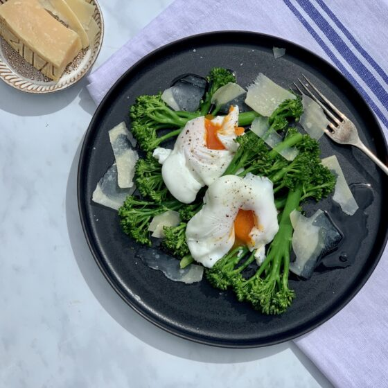 Poached eggs with Tenderstem® broccoli, parmesan and truffle oil