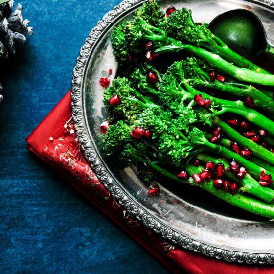 Tenderstem® broccoli with pomegranate molasses dressing