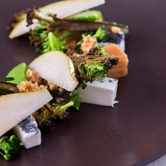 Tenderstem® Broccoli, Cerney Ash Goat's Cheese, Quince Terrine, Hazelnuts