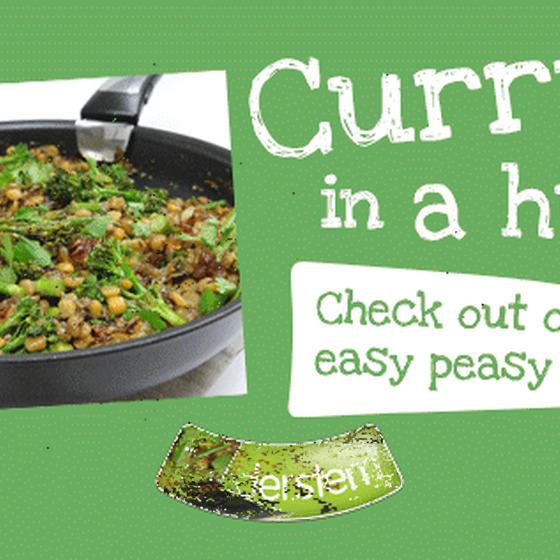 Tenderstem® broccoli & Bengali Split Pea Curry with Caramelised Shallots