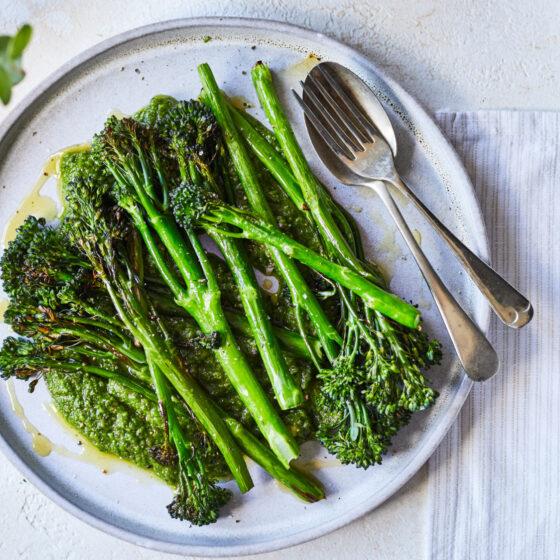 Tenderstem® broccoli side dish with garlic pesto