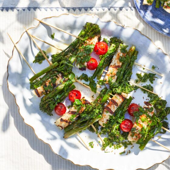 BBQ spiced Tenderstem® broccoli and halloumi kebabs by Genevieve Taylor