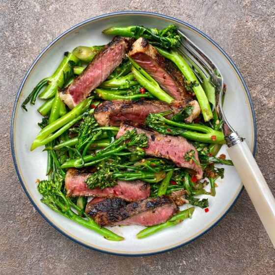 Miso ribeye steak with Tenderstem® broccoli