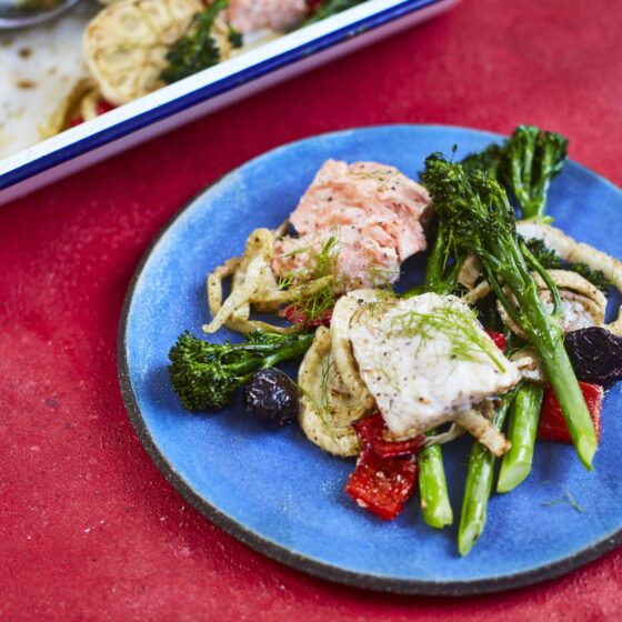 Za'atar style fish tray bake with Tenderstem® broccoli by Dr Rupy of The Doctor's Kitchen