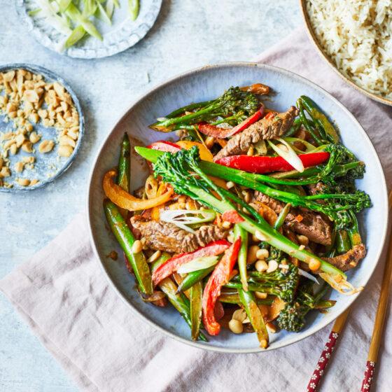 Spicy peanut beef and Tenderstem® broccoli stir fry
