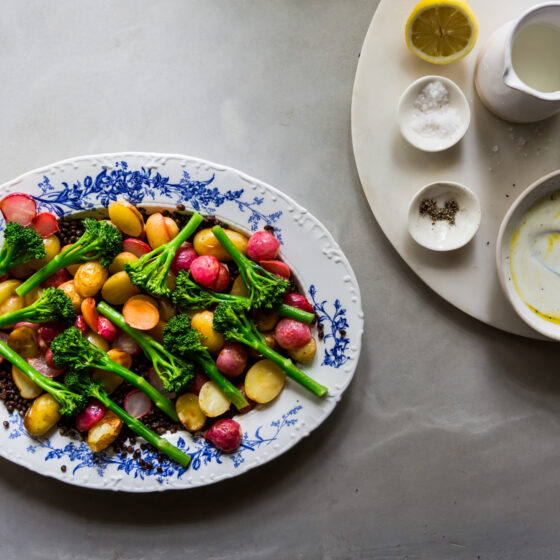 Roasted Tenderstem® broccoli with Radishes and Crispy Lentils