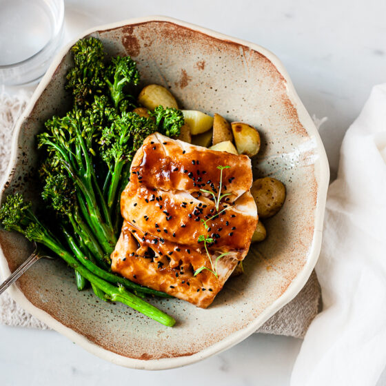 Sticky Asian cod with roasted Tenderstem® broccoli and new potatoes
