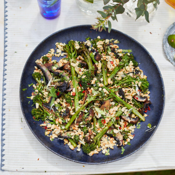 BBQ Tenderstem® broccoli and portobello mushrooms with Thai-style dressing by Genevieve Taylor