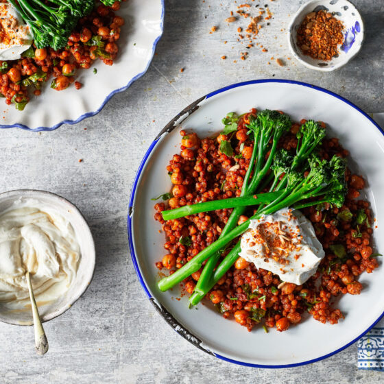 Spiced chickpea and giant couscous salad with Tenderstem® broccoli