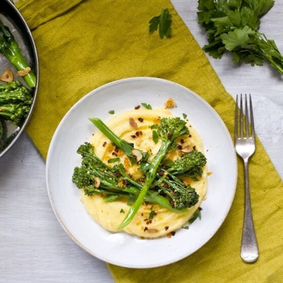 Smoky Three Cheese Polenta with Sautéed Tenderstem® broccoli, Chorizo Crumbs & Parsley
